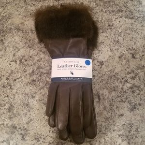 Charter Club womens leather/fur driving gloves